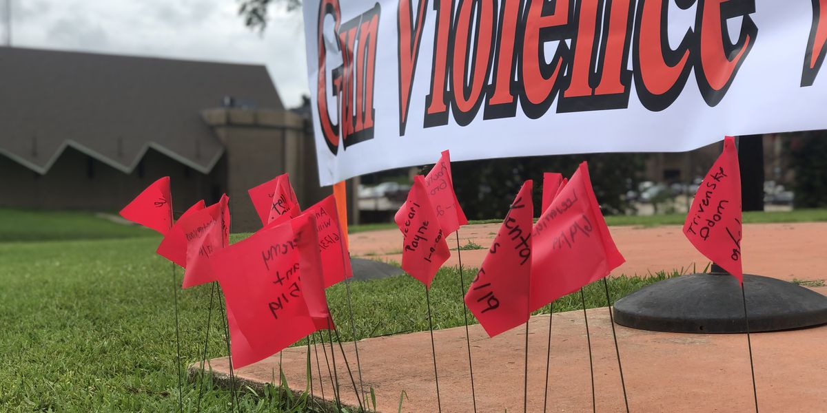 Shreveport church plants flags to honor gun violence victims