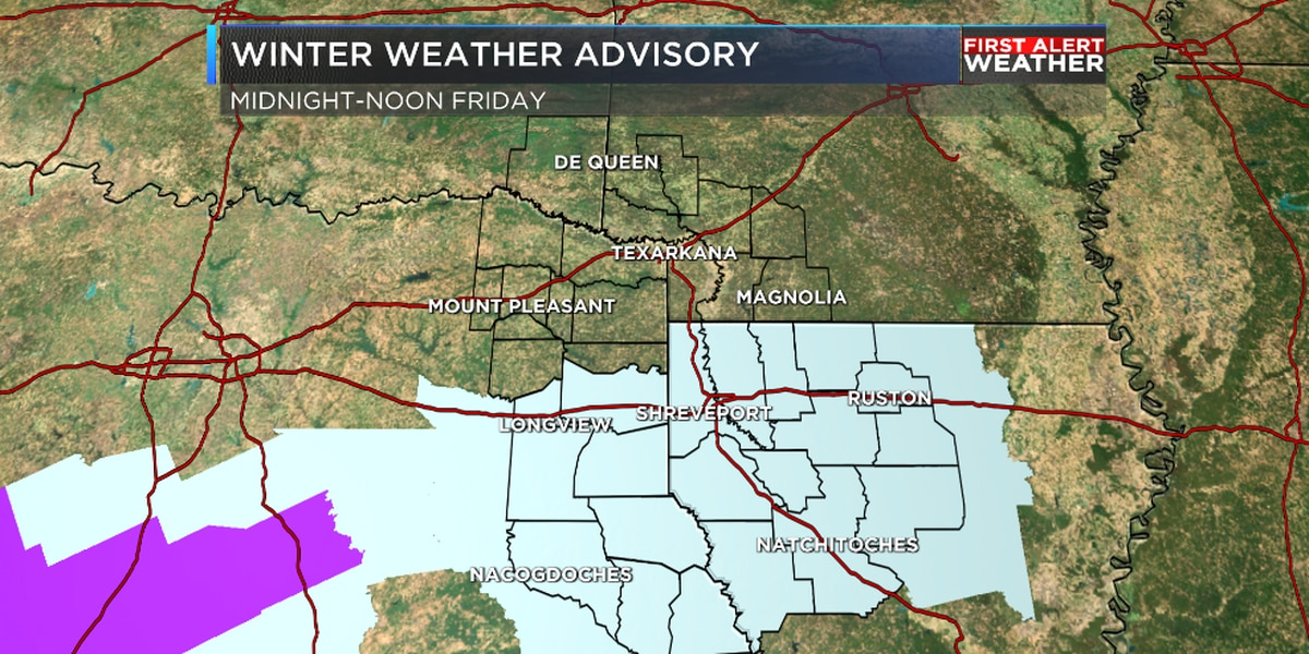 Winter Weather Advisory along and south of I-20 tonight