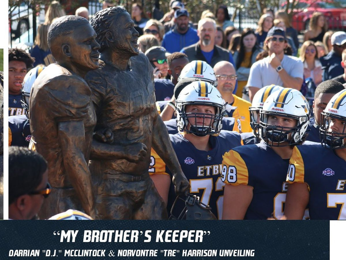 "ETBU honors Darrian ""D.J."" McClintock, Jr., and Norvontre ""Tre"" Harrison with statue"