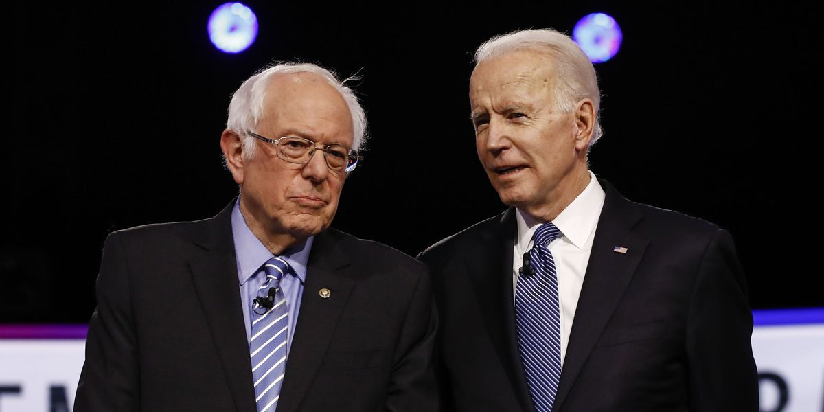 Democratic Debate Starts With a Biden-Bernie Elbow Bump (And a Cough)
