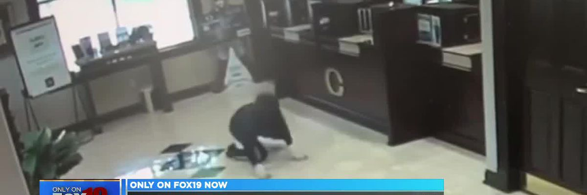 Bank robber face plants during escape