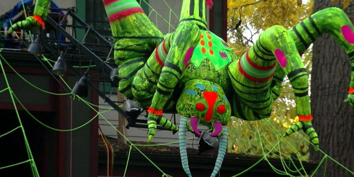 Giant spider decoration scares up screams for Halloween by climbing NY house
