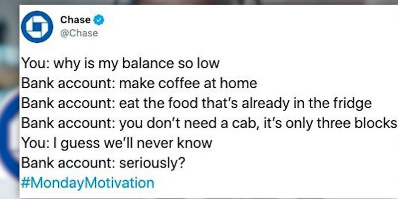 Chase attempts cleverness in tweet about frugality, gets dragged