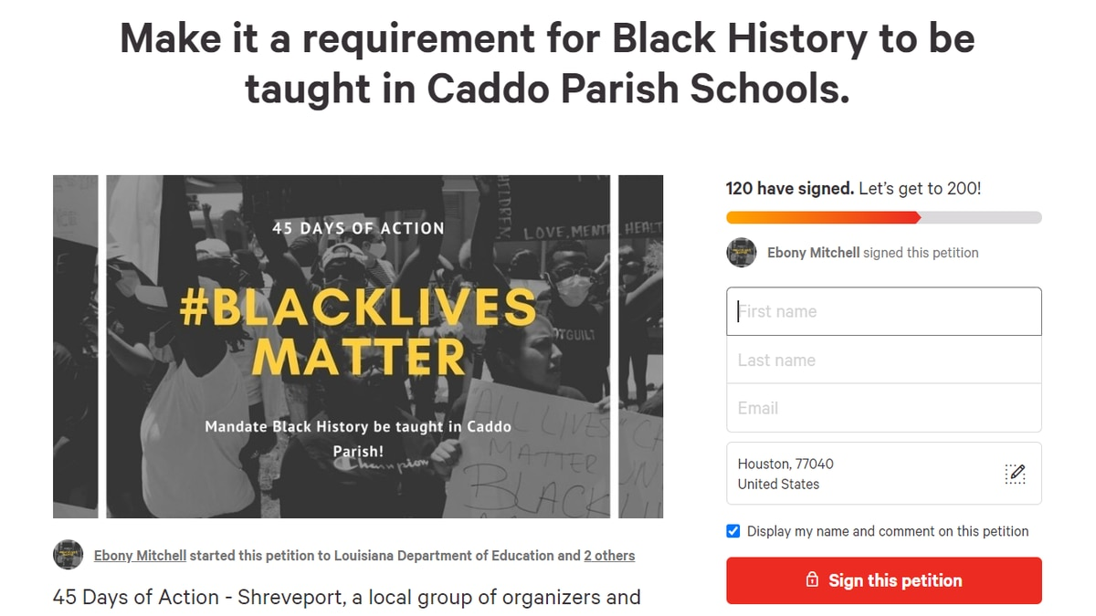 Activists push for black history to be taught in all American history classes in Caddo public schools
