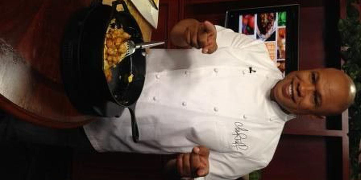 Chef Jeff whips up a shrimp and asparagus omelet in the KSLA News 12 studio
