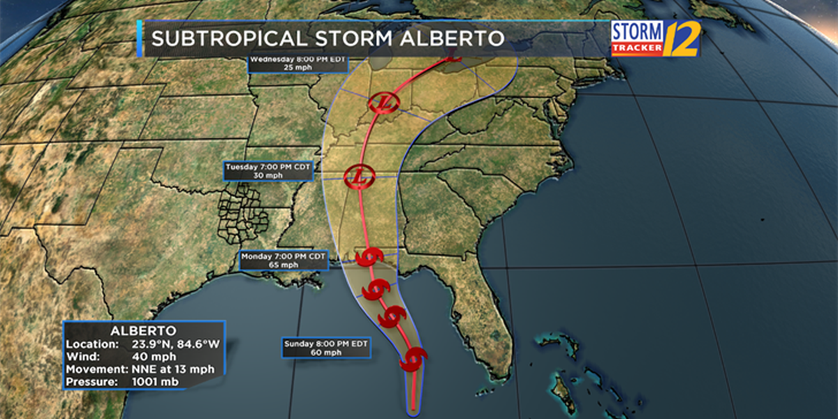 Subtropical Storm Alberto moves toward the southern coast