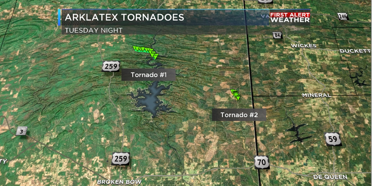 Two tornadoes touched down in McCurtain County Tuesday night