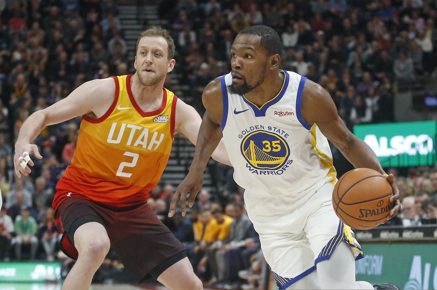 fe77d4ddd50 Golden State Warriors forward Kevin Durant (35) drives around Utah Jazz  forward Joe Ingles