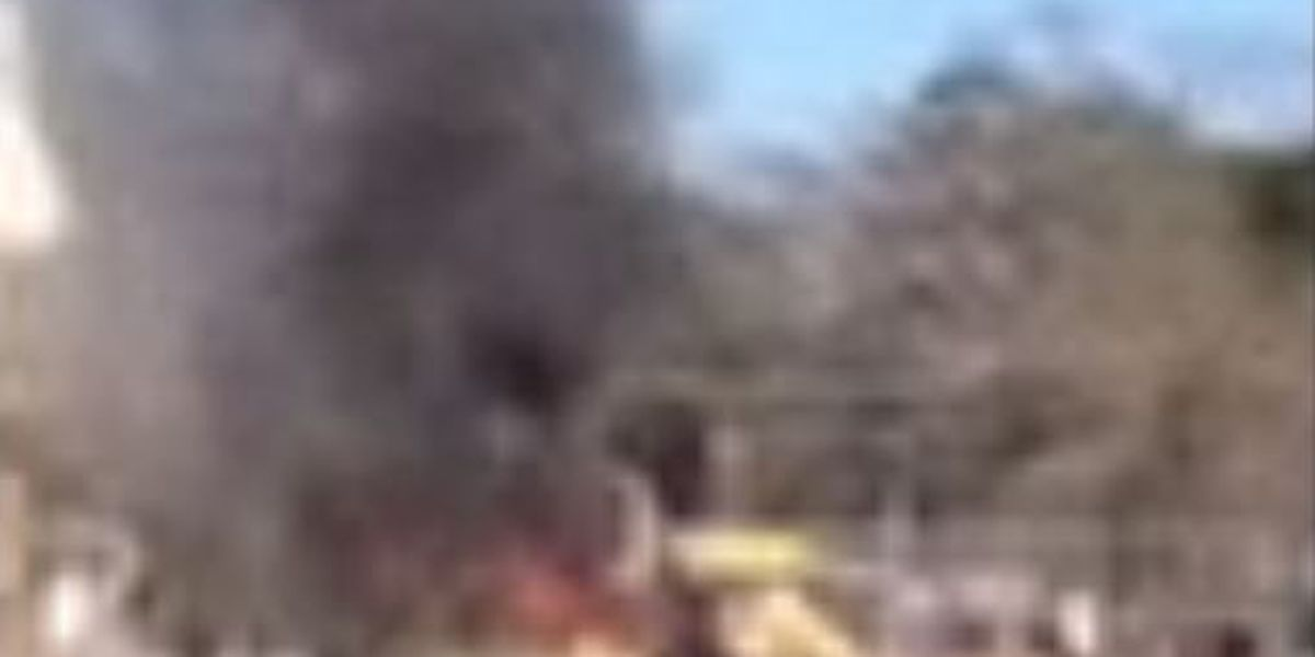 Caddo school bus catches fire