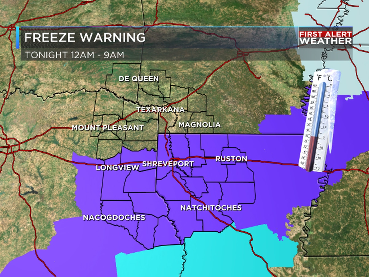 FIRST ALERT: Freeze Warning issued for NW LA tonight