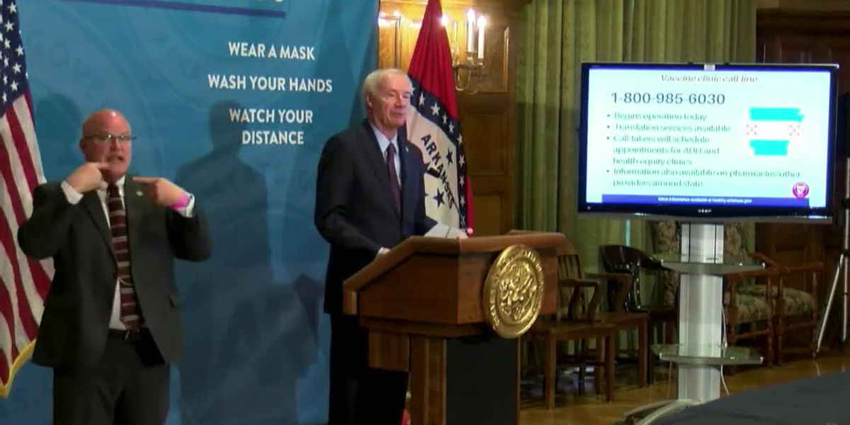 FULL VIDEO: Gov. Asa Hutchinson expands vaccine eligibility, announces statewide hotline to make appointment