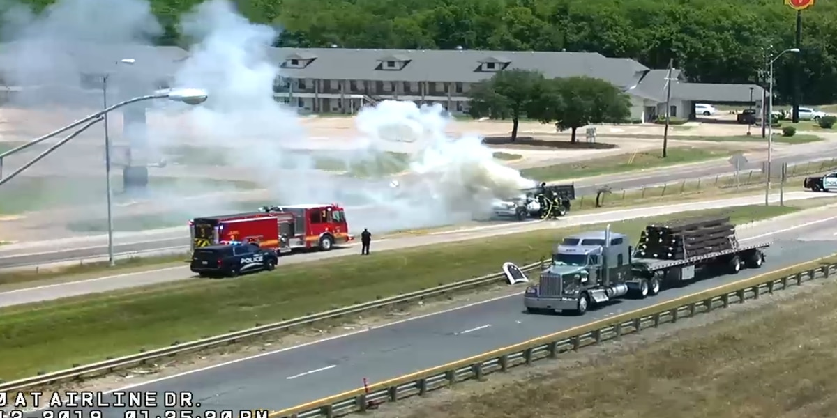 Vehicle catches fire near I-20 at Airline Drive