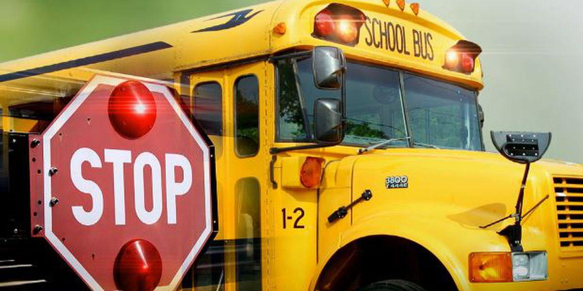 Pickup sideswipes school bus; 4 children on board