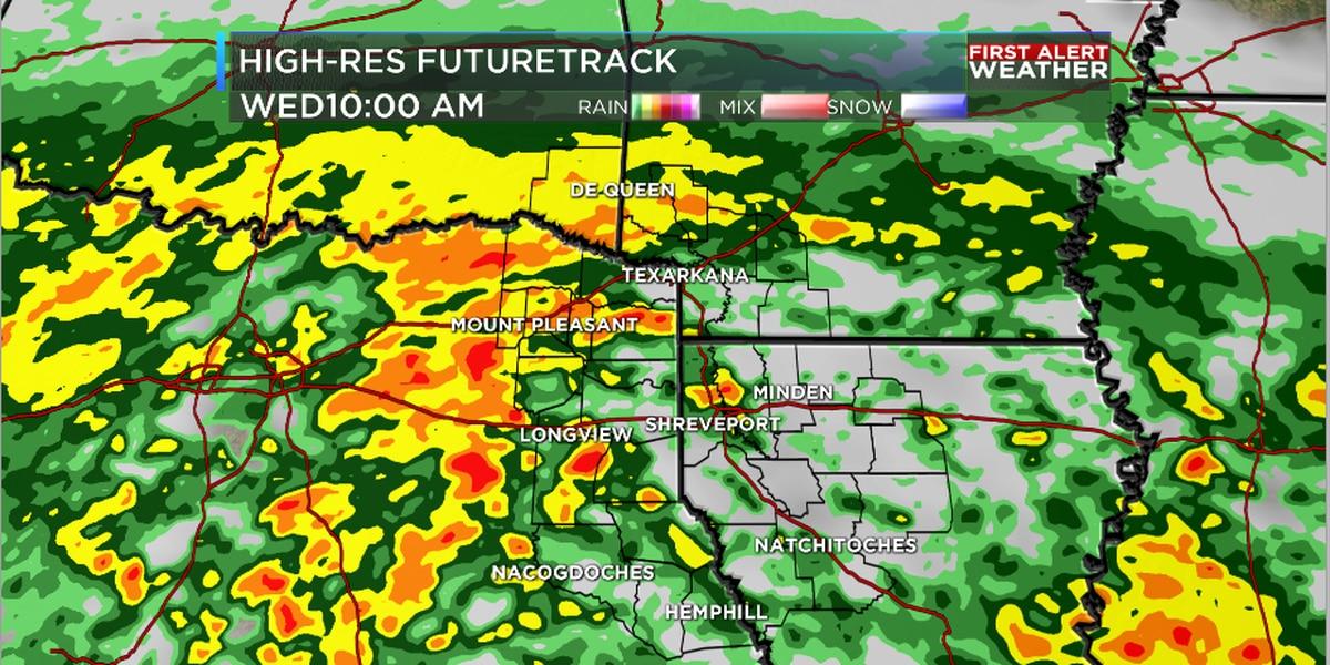Severe weather chances decreasing for ArkLaTex