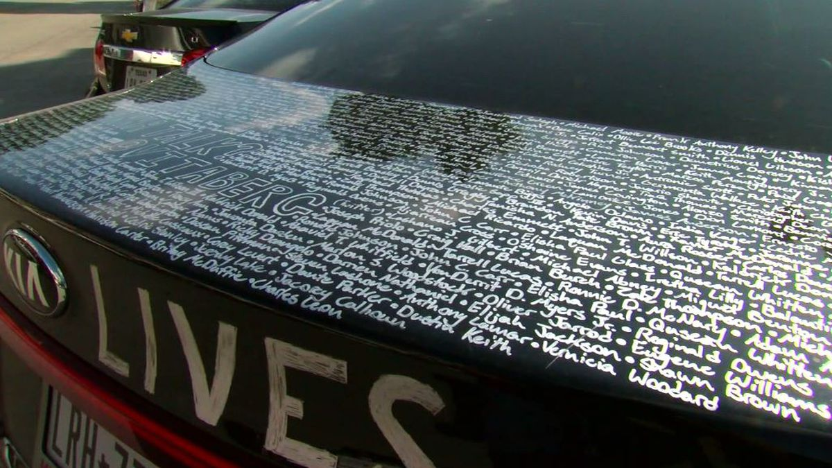 Texas man writes 1,400 names of Black people killed by police on car