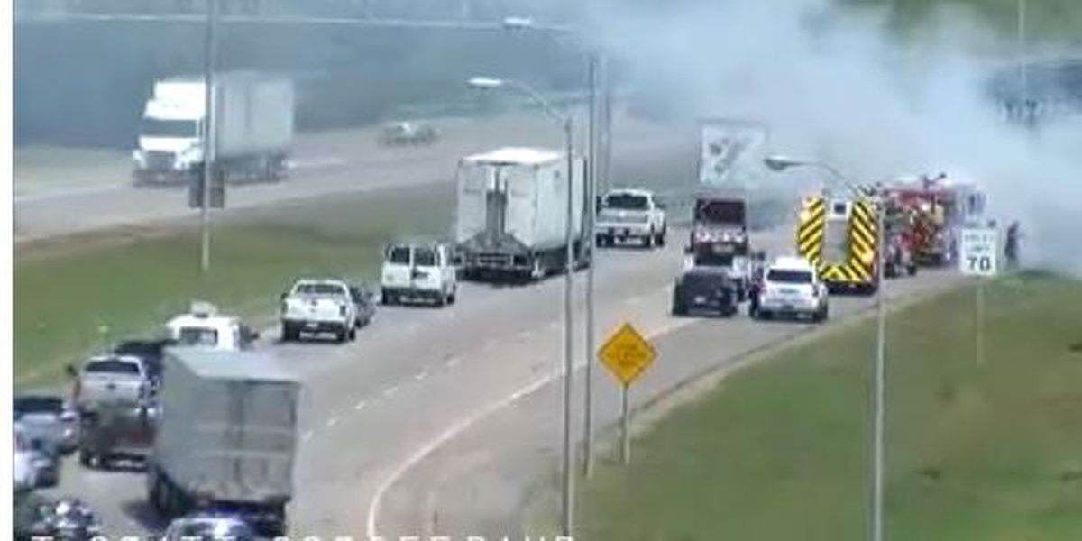 Trailer, grass fires impact travel on Interstate 20
