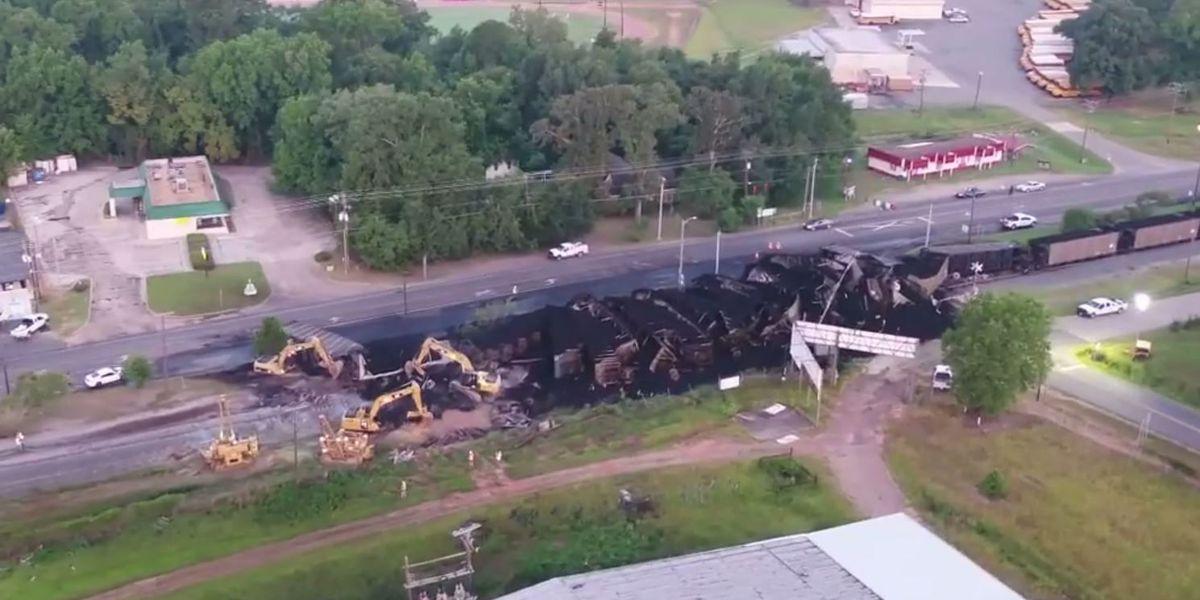 Hwy. 1 in Vivian reopened after weekend train derailment