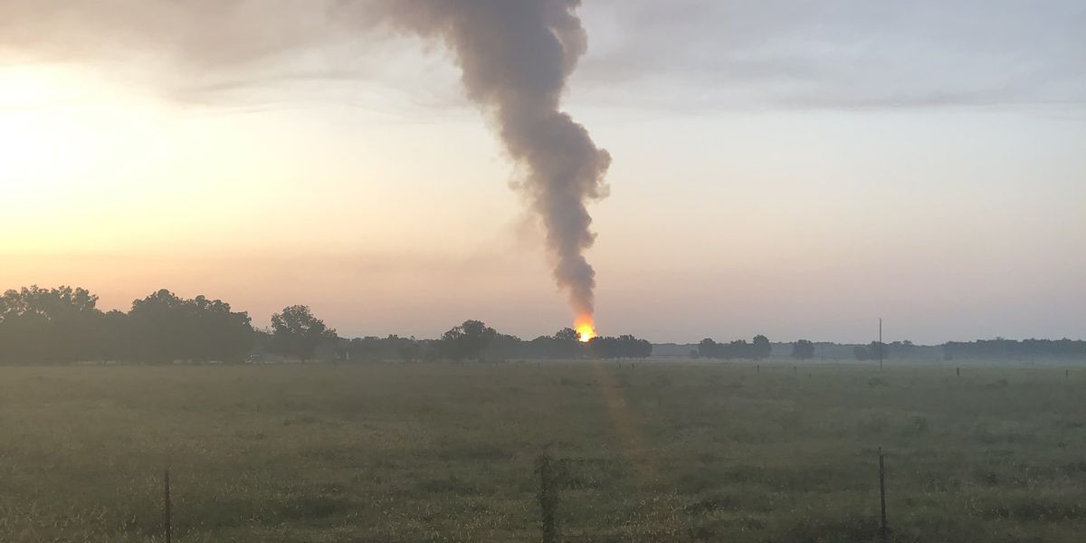 Red River Parish gas well blows out; still on fire