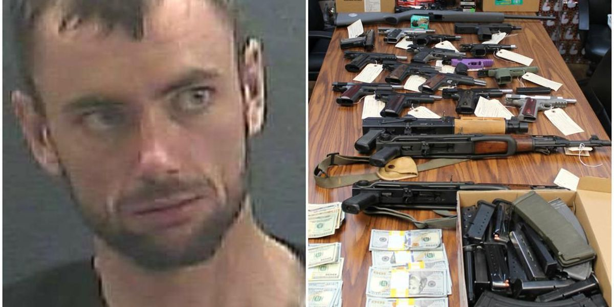 No headlights after midnight leads to 20 guns, drugs, $11,963
