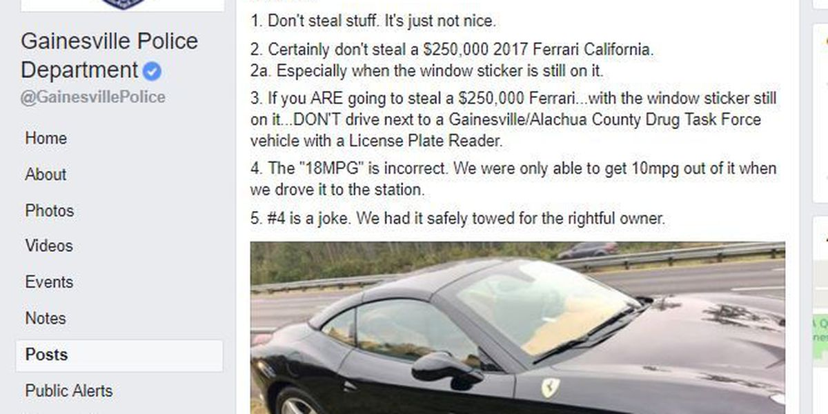 Police agency develops global following with witty posts like one poking fun at Ferrari thief