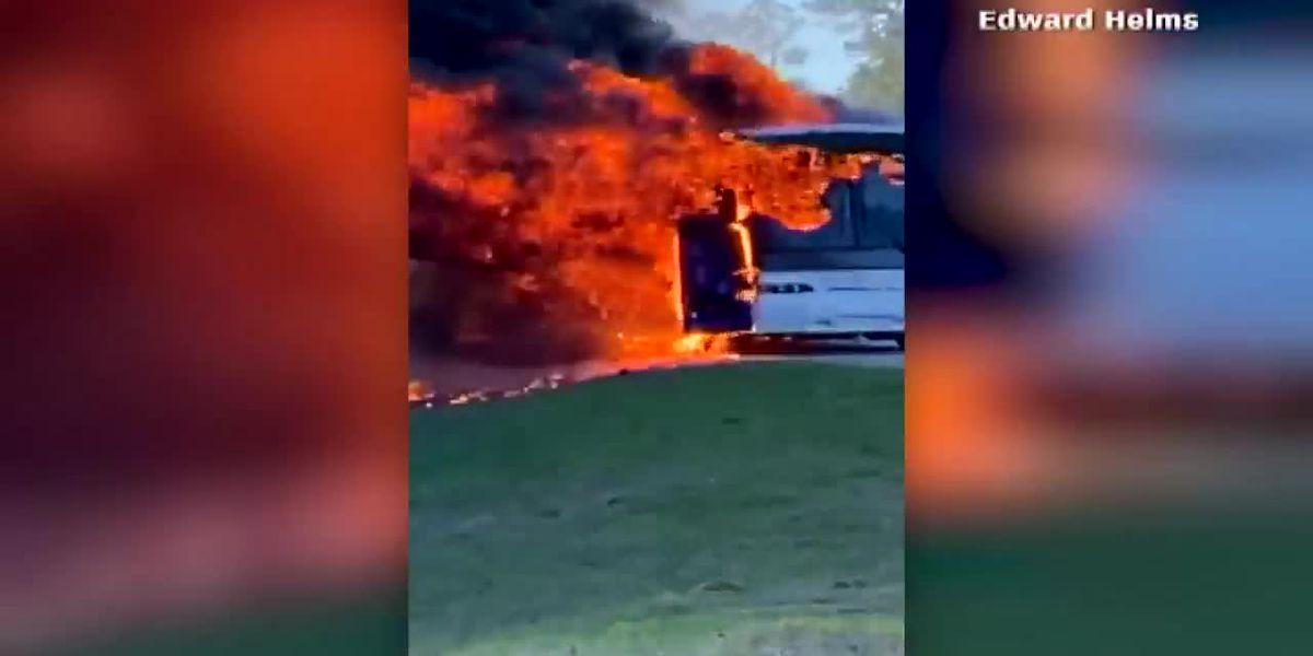 Video shows charter bus carrying University of Alabama students catching fire