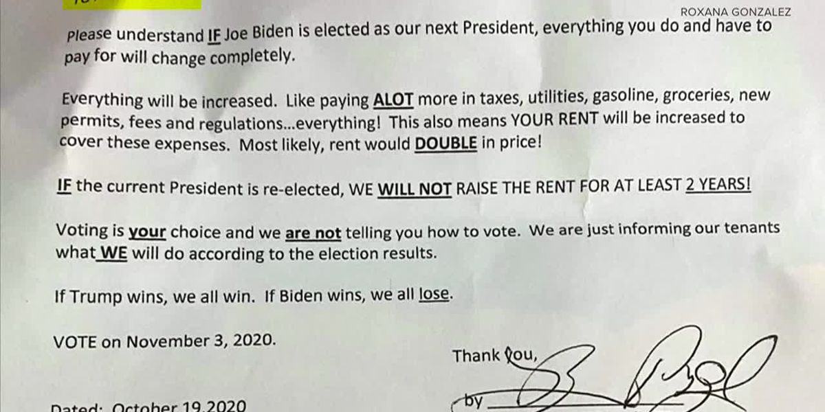 Tenant claims Colorado landlord sent letter saying rent may double if Biden wins election