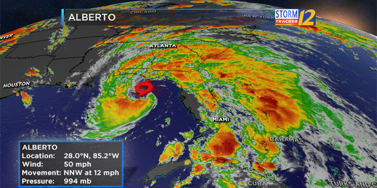 Landfall of subtropical storm Alberto expected sometime Monday afternoon