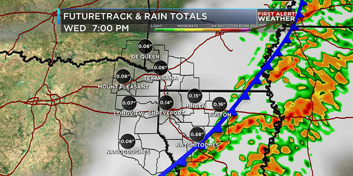 Showers and storms Wednesday clear in time for Christmas