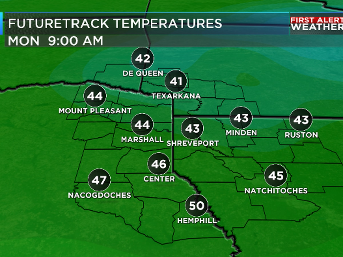 Monday A.M. temps the coolest of the season so far; big warm-ups in the week ahead
