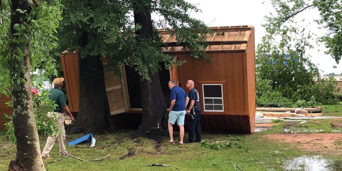 Severe weather leaves trail of downed power lines; portable storage buildings destroyed