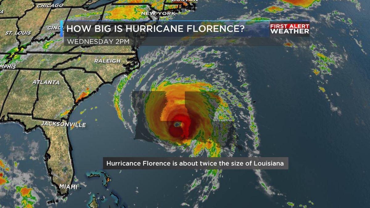 How big is Hurricane Florence?