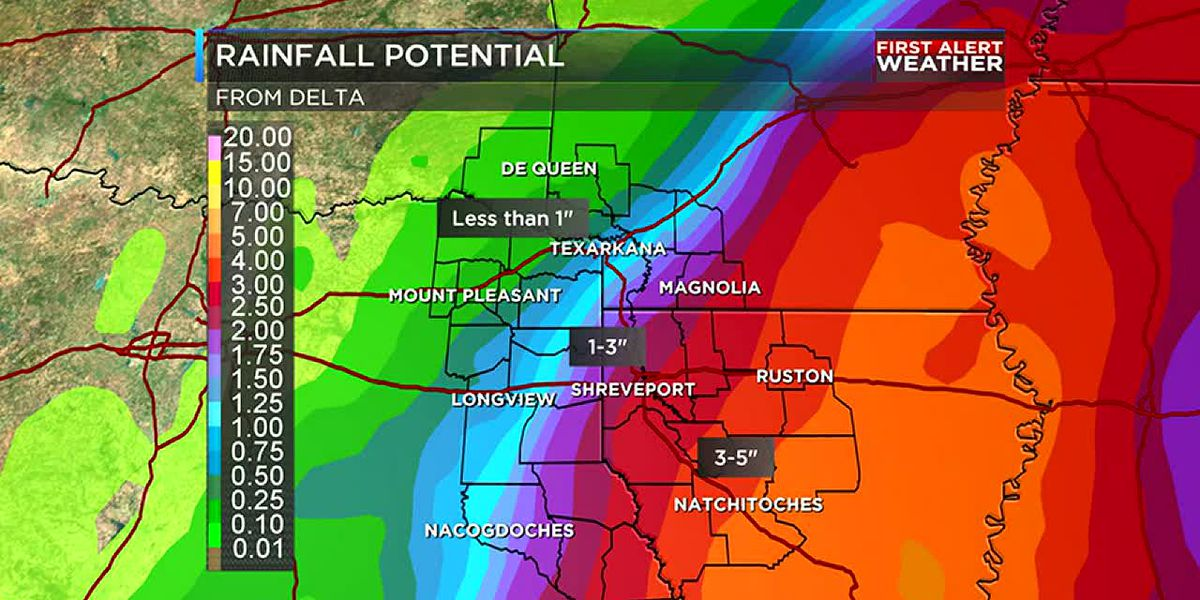 Rain likely as Delta approaches the ArkLaTex