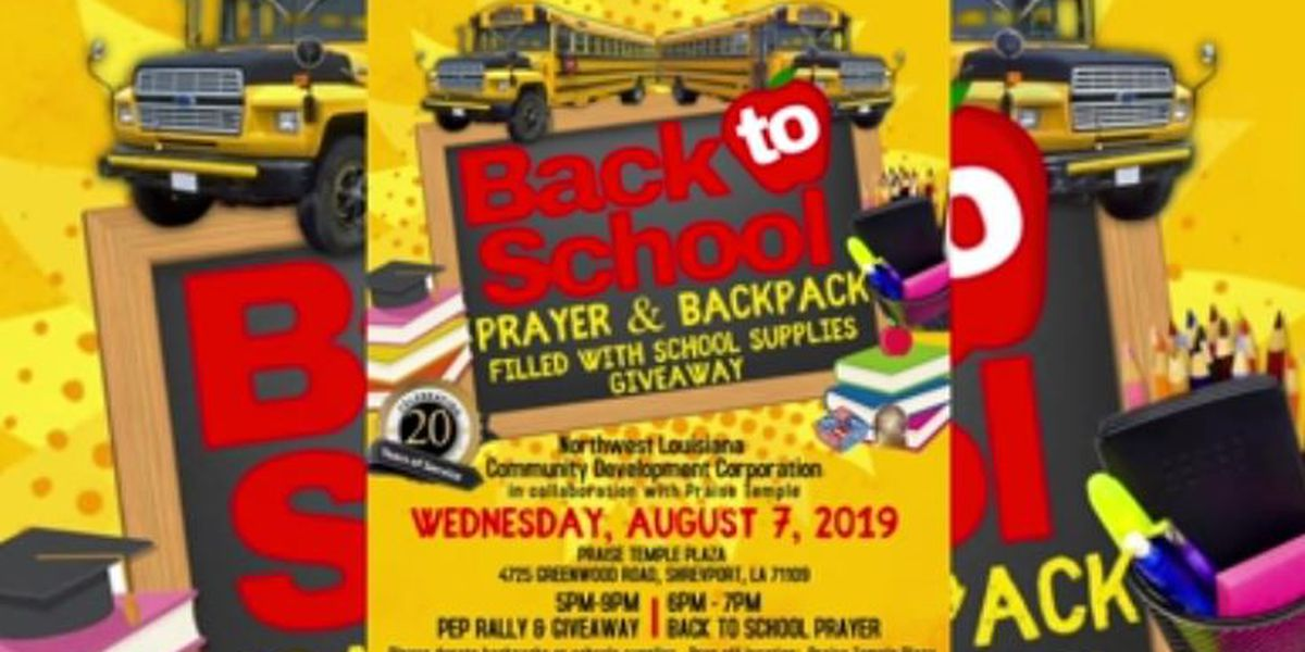 Praise Temple hosts prayer, backpack giveaway