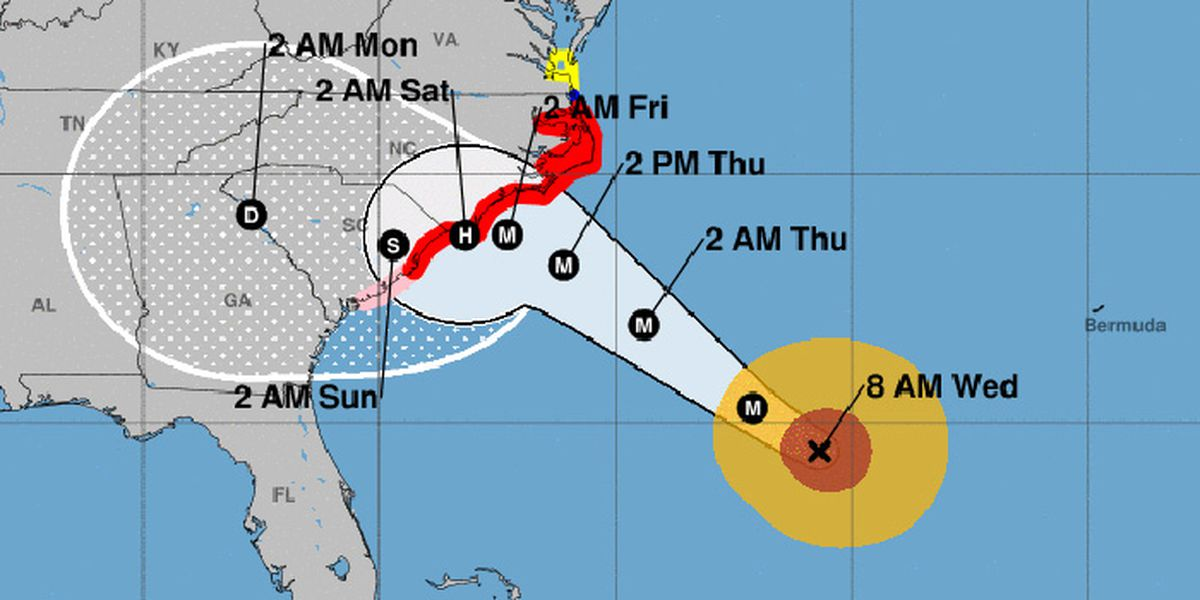 Hurricane Florence weakens to Category 2 storm, closing in on US
