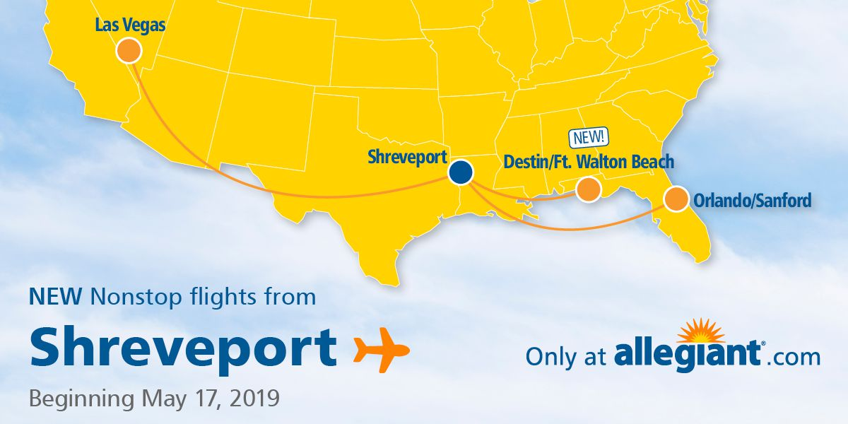 Shreveport Regional Airport to offer flights to Destin Florida