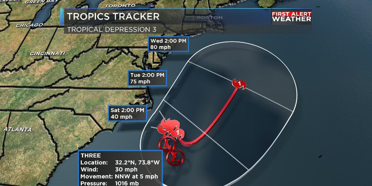 Tropical Depression 3 forms off the Carolina coast, expected to become Tropical Storm Chris this weekend
