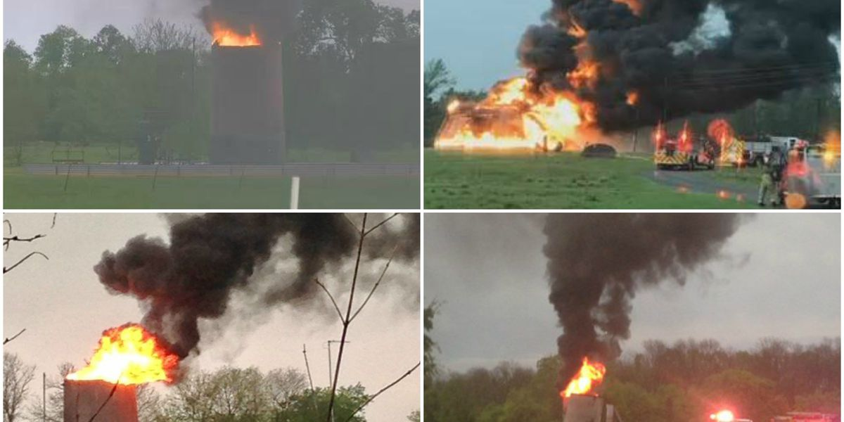Lightning sparks oil storage tank fires in Caddo, Waskom