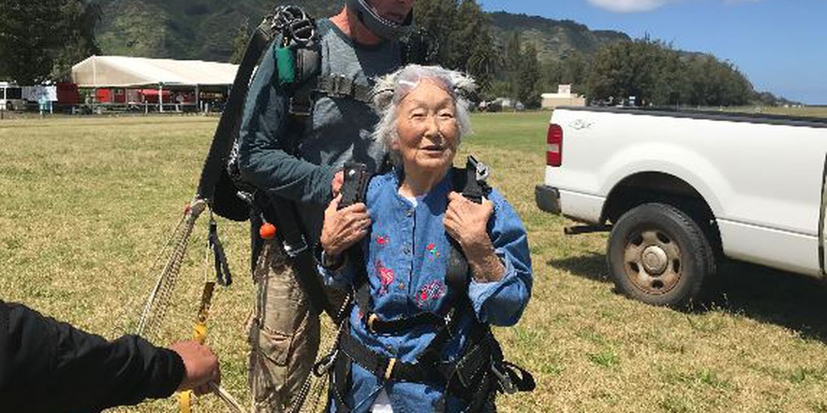 To celebrate turning 91 years young, this great-grandmother went ... skydiving