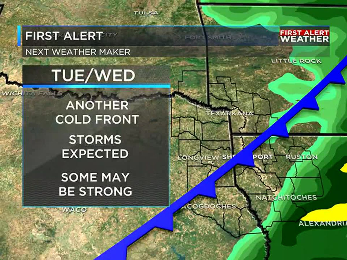 Showers and storms return to the ArkLaTex by next week