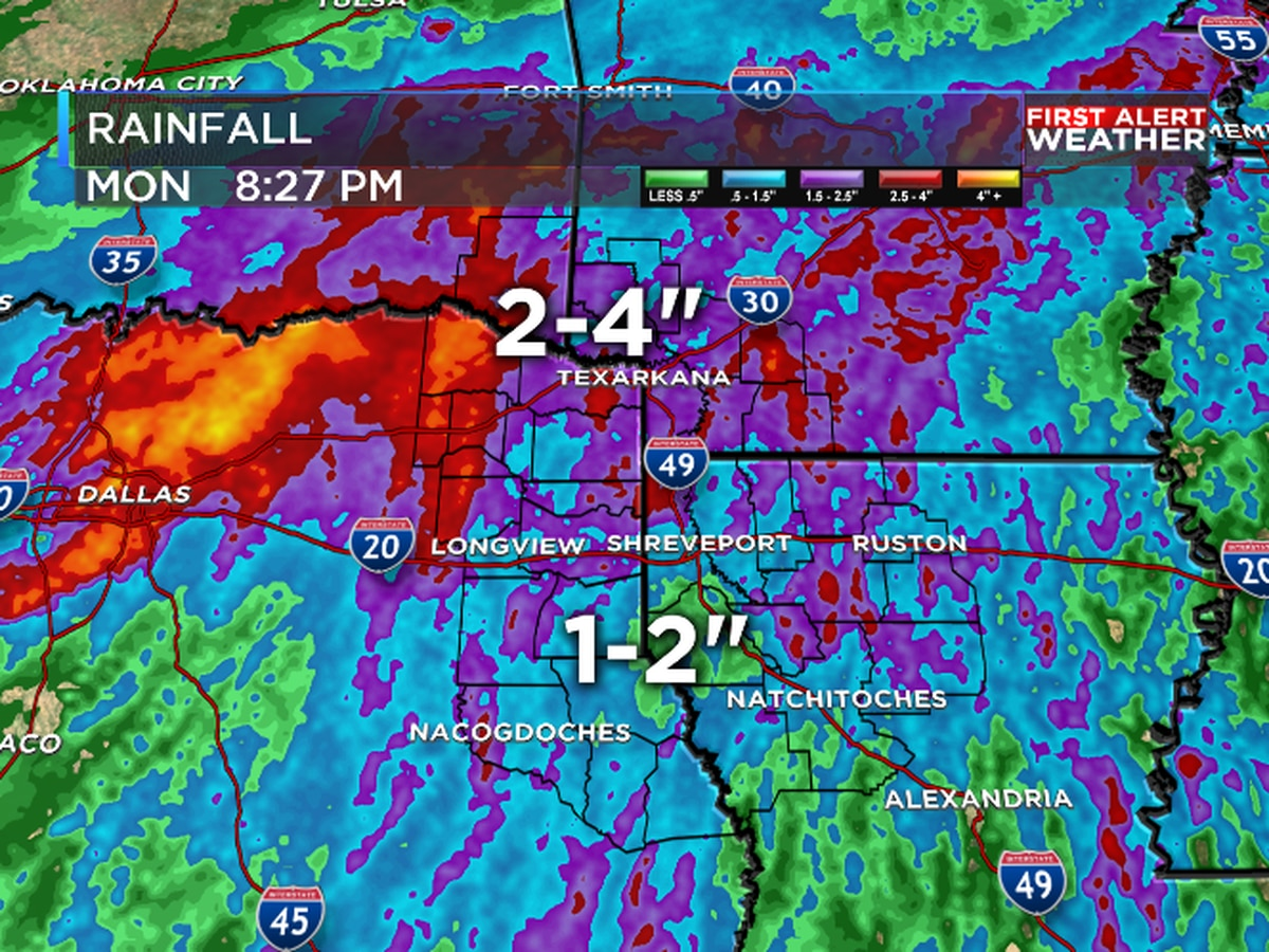 Heavy rain fell across much of the ArkLaTex over the weekend