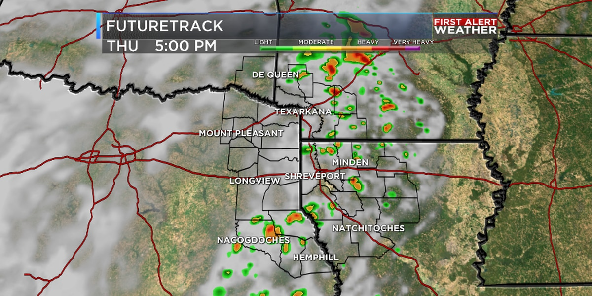 Scattered showers and storms Thursday