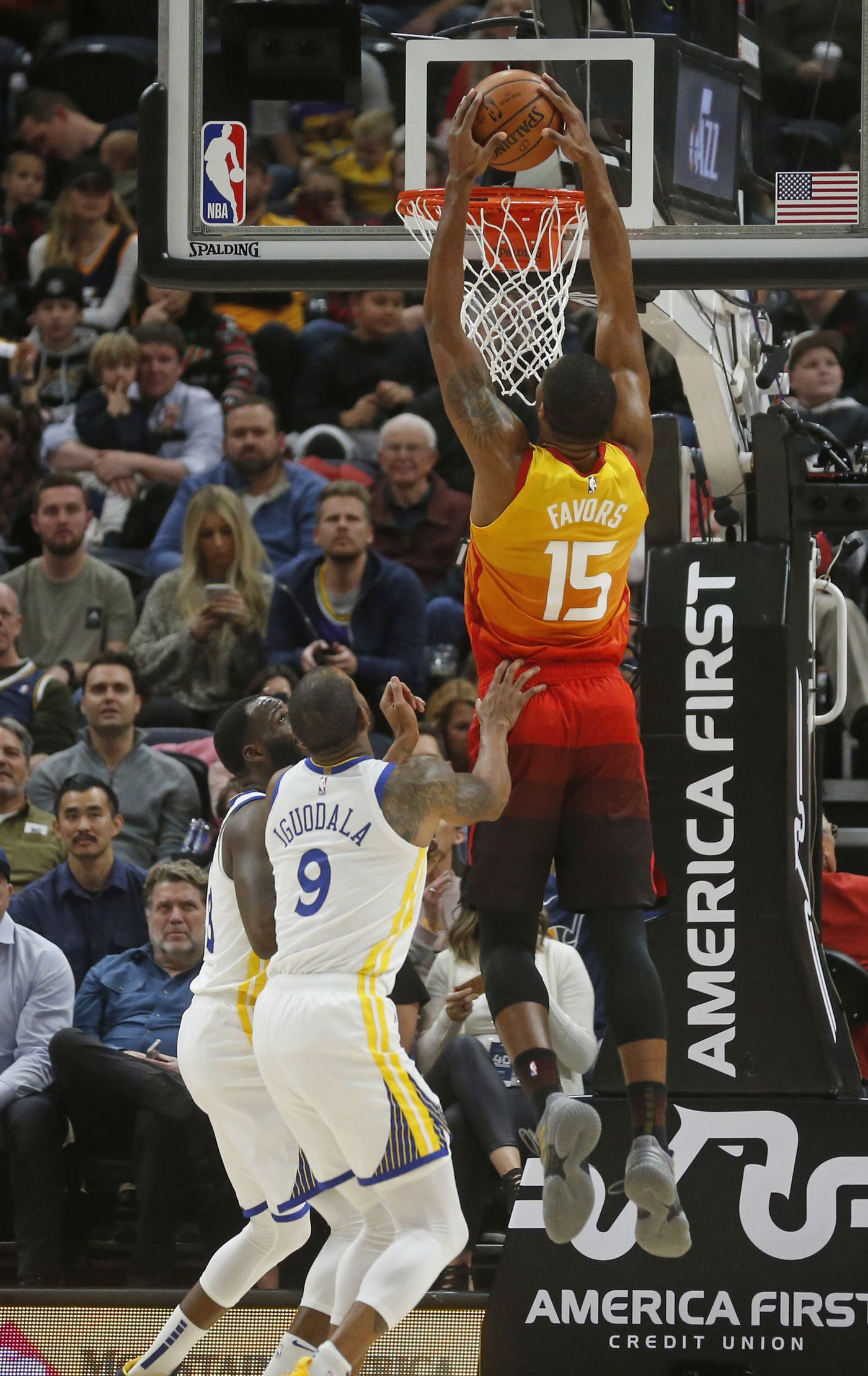 40b0956c757 Utah Jazz forward Derrick Favors (15) dunks the ball as Golden State  Warriors'
