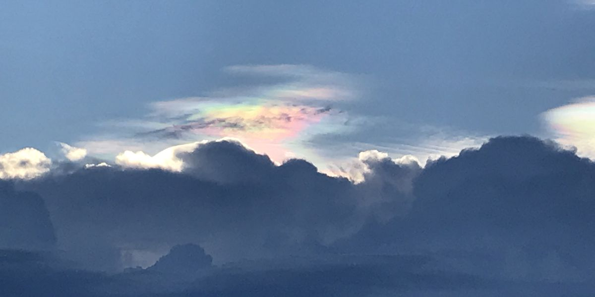 Rainbow clouds in the sky