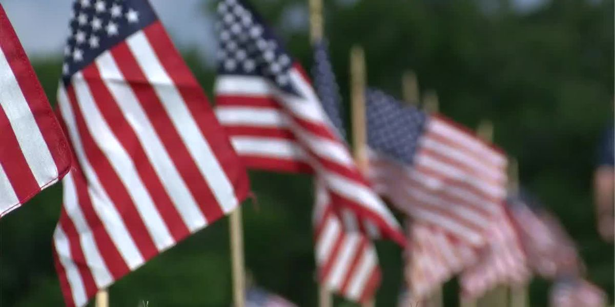 Flags in veterans cemetery wave for the nation's fallen