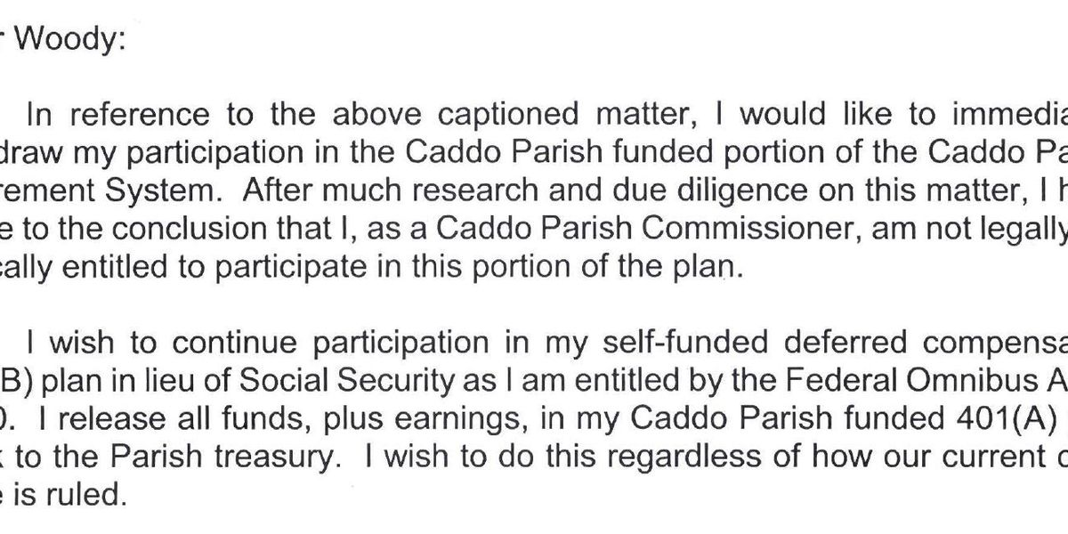 Caddo commissioners say letter proves they opted out of retirement system