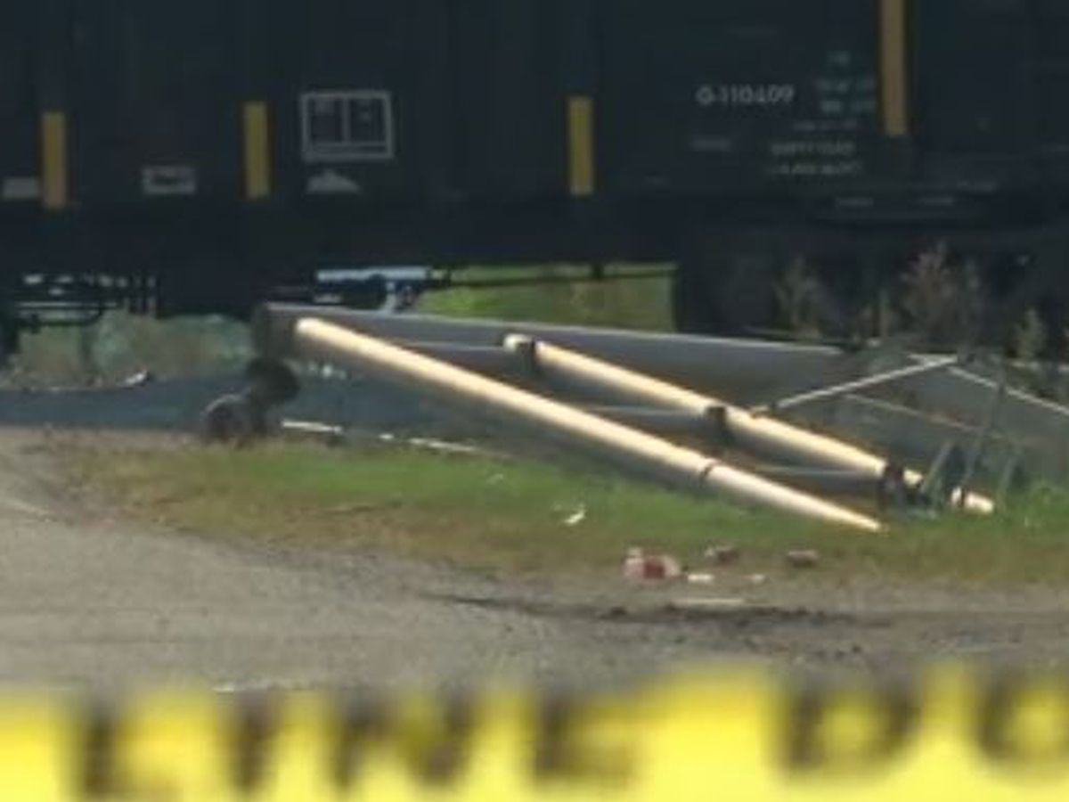 Train hits truck; train conductor dies; road closed