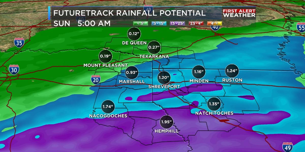Heavy rain possible Saturday