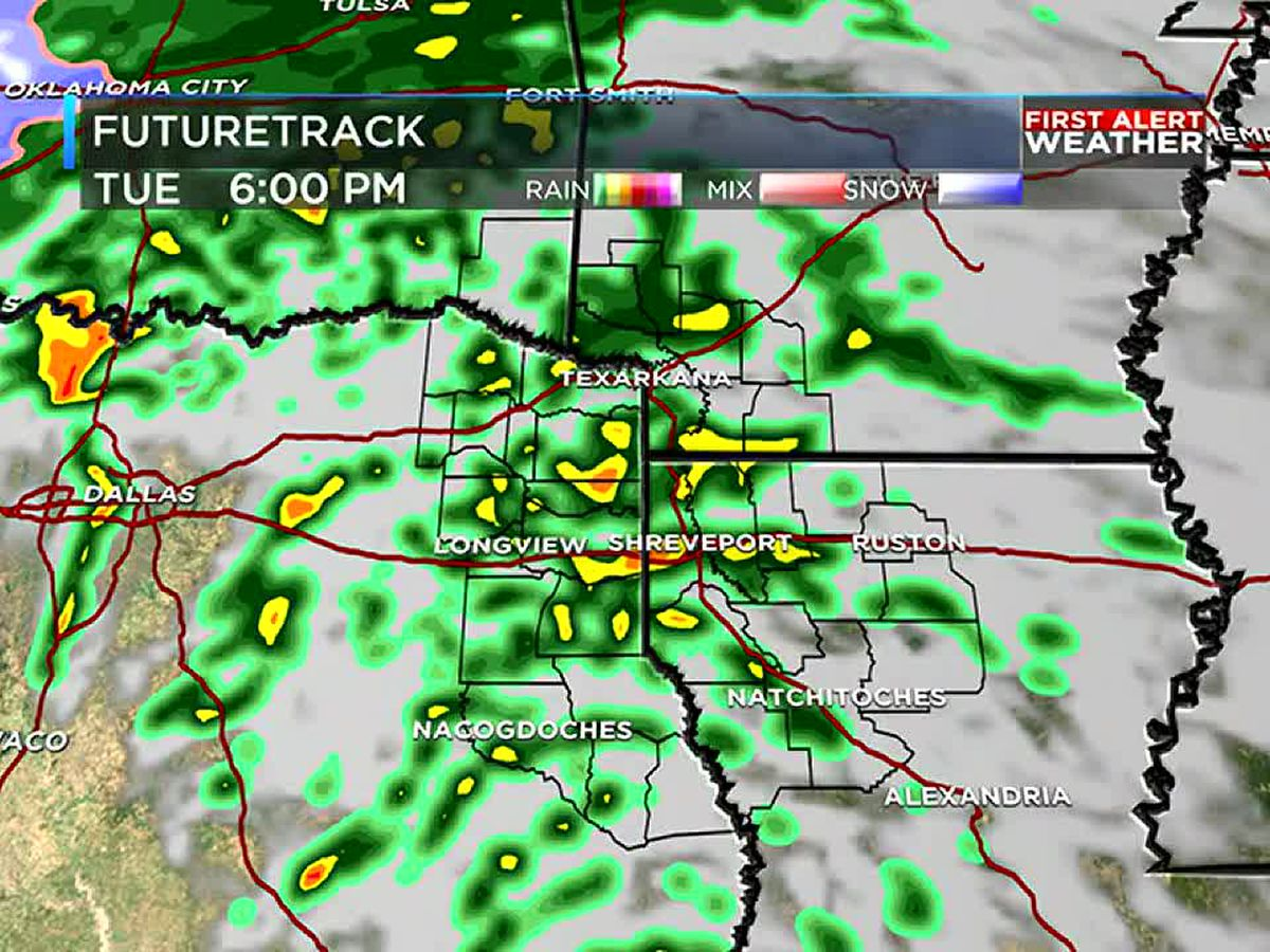 Umbrellas up! Rain returns to the ArkLaTex on Tuesday