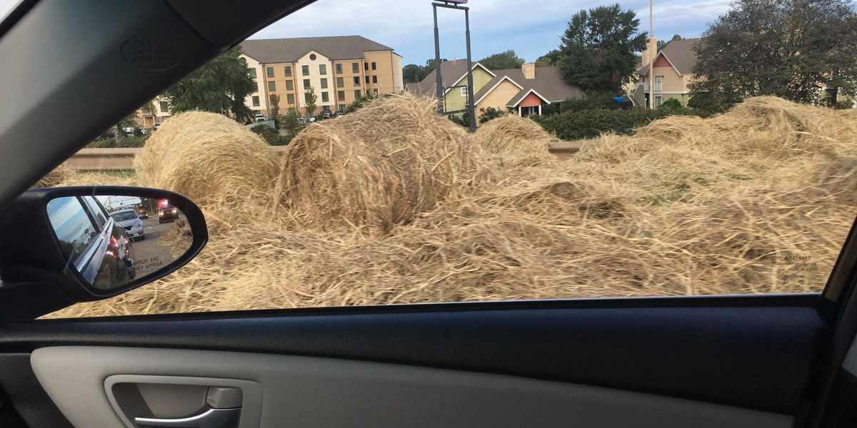 Lost load of hay blocks traffic on I-20 west