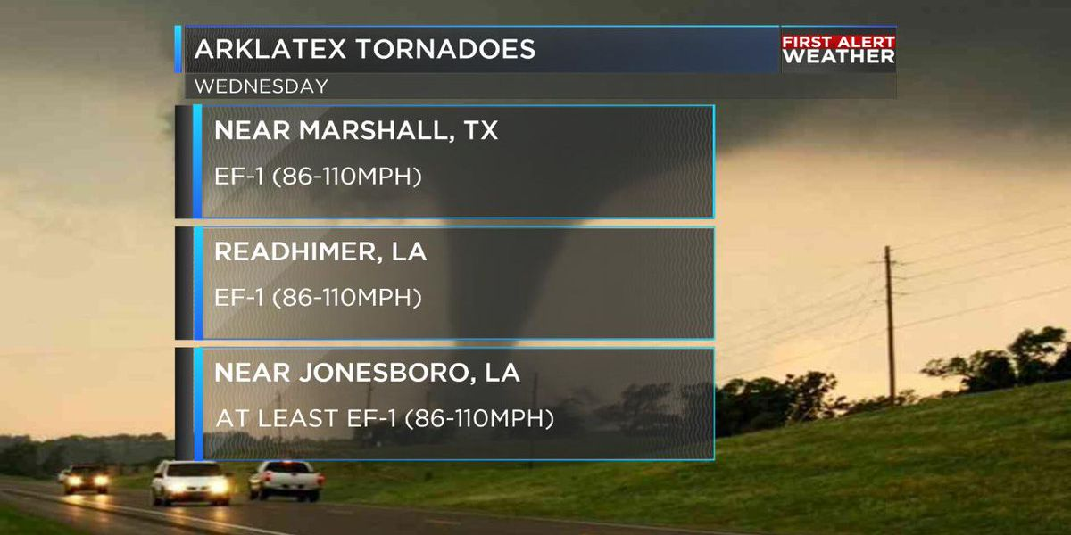 NWS: Three EF-1 tornadoes touched down in Louisiana, Texas